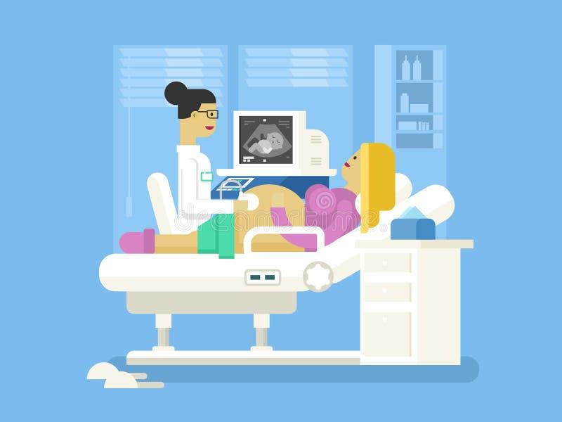 一名孕妇的超声波 向量例证