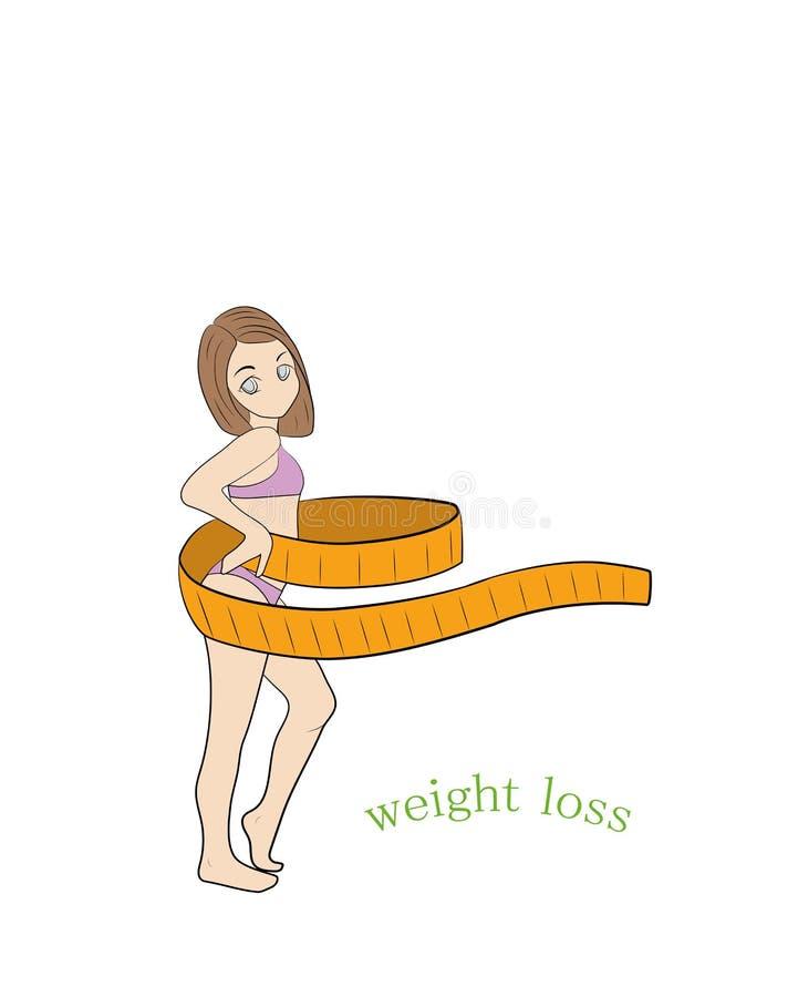 一名年轻稀薄的妇女测量她的有卷尺的腰部 查出的损失评定躯干重量白人妇女 妇女和丝带 测量腰部传染媒介il的大小 库存例证