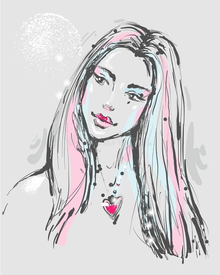一名年轻atractive妇女的时尚画象有心脏项链的 向量例证