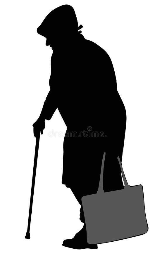 一名年长妇女的剪影有藤茎的 向量例证