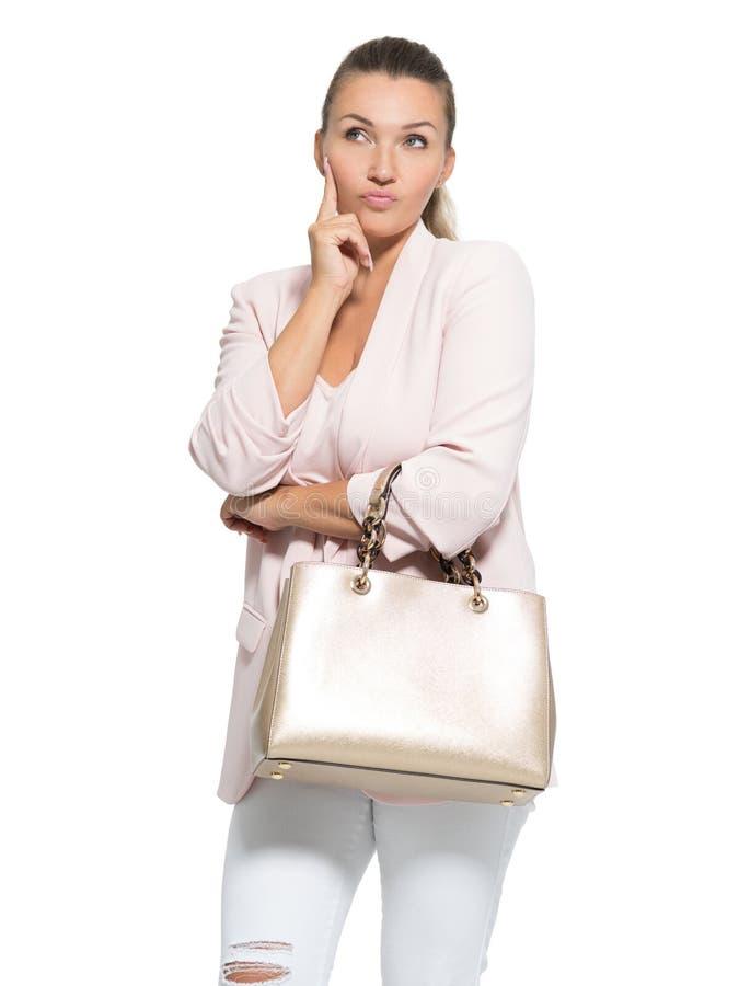 一名想法的妇女的画象在白色背景的 免版税库存图片