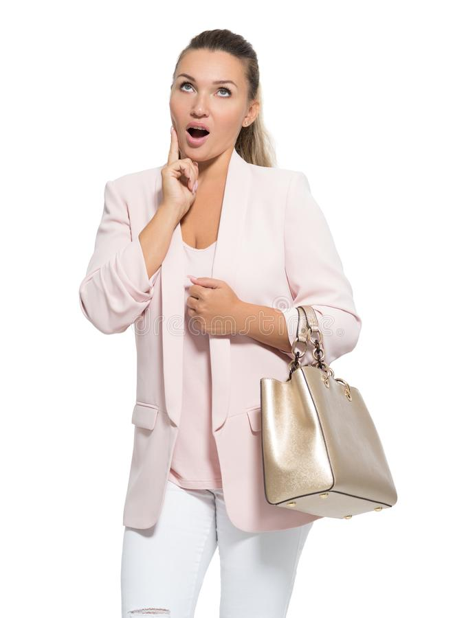 一名想知道的愉快的妇女的画象在白色背景的 免版税库存图片