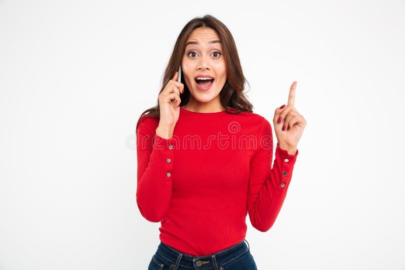 一名愉快的亚裔妇女的画象谈话在手机 免版税库存照片