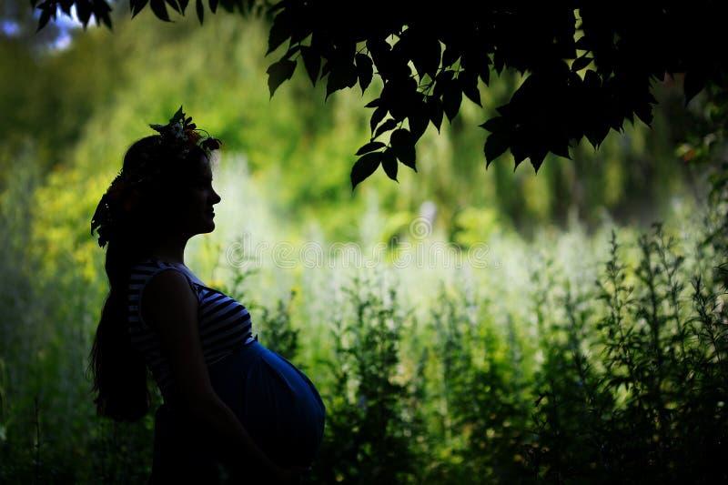一名愉快的孕妇的剪影在庭院里 图库摄影