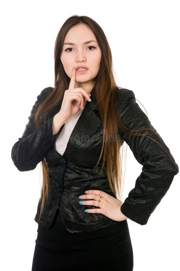 一名沉思亚裔妇女的画象隔离的在白色背景 免版税库存图片