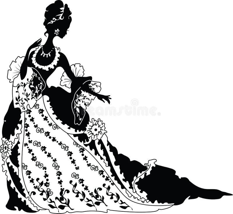 一名洛可可式的妇女的图象剪影 皇族释放例证
