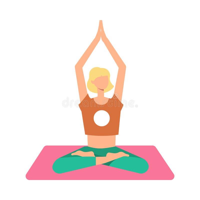 一名白肤金发的妇女在瑜伽席子的莲花坐思考有盘的腿的,被举的胳膊 库存例证