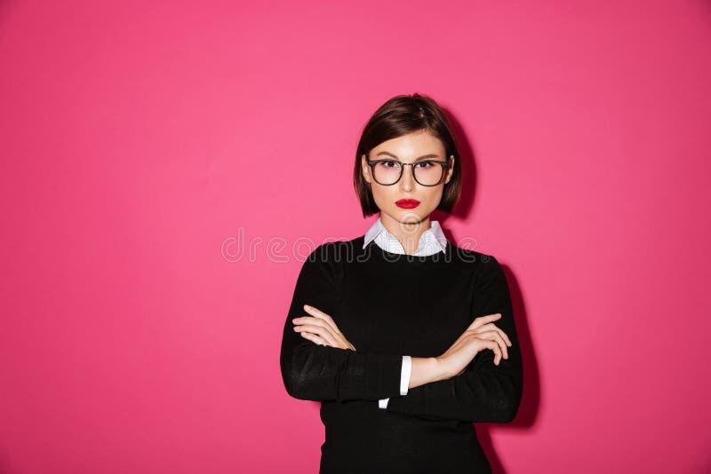 一名确信的可爱的女实业家的画象 库存照片