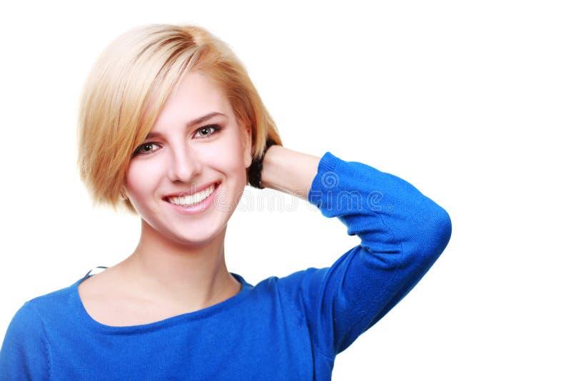 一名确信的快乐的妇女的特写镜头画象 免版税库存照片
