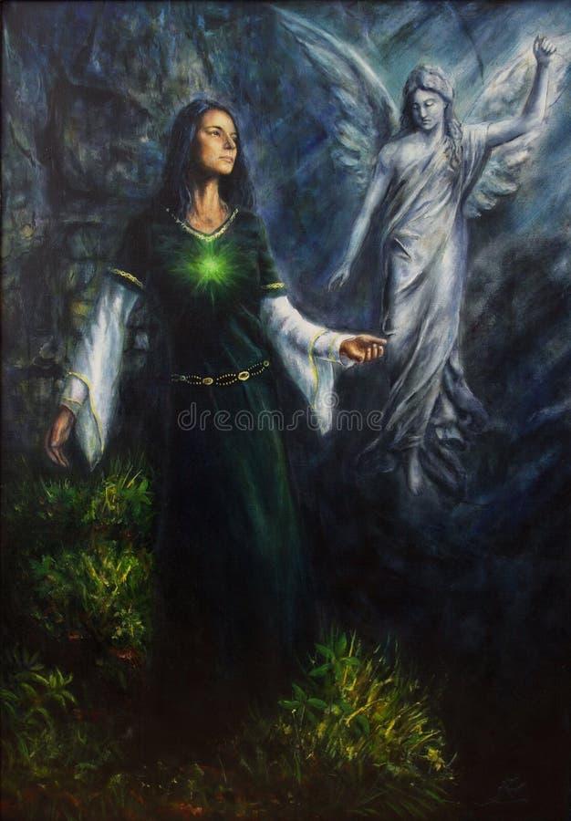 一名神秘的妇女的美好的油画历史礼服的有与她的守护天使的幻想遭遇在寺庙  向量例证
