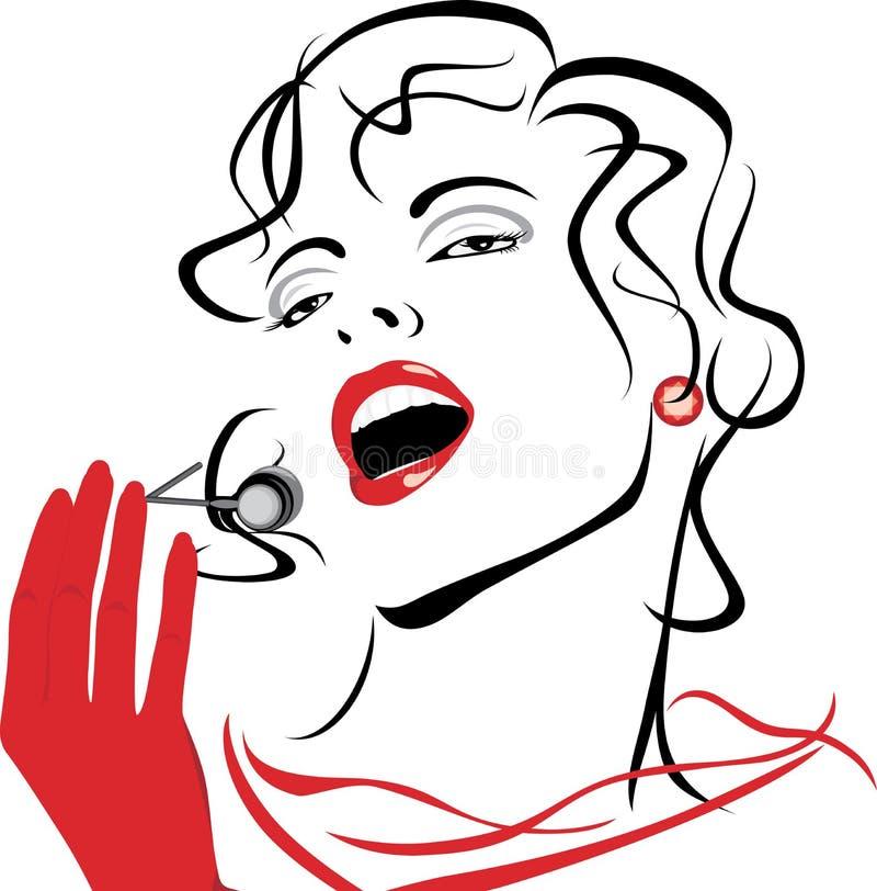 一名美丽的唱歌的妇女的纵向 向量例证