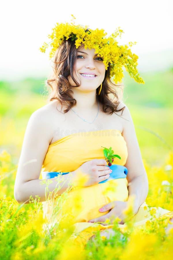 一名美丽的孕妇的画象在乡下 图库摄影