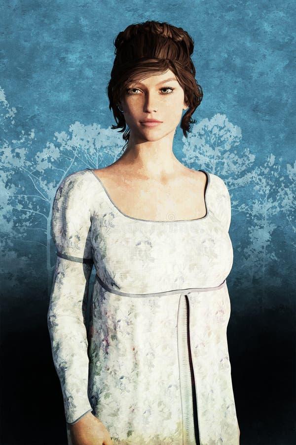 一名美丽的摄政样式妇女的例证 向量例证