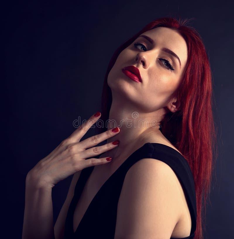 一名美丽的红发妇女的画象 库存图片