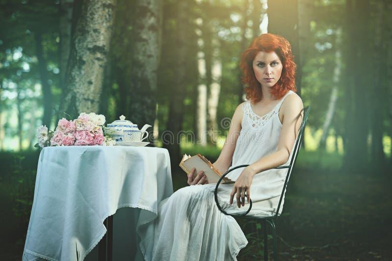 一名美丽的红头发人妇女的超现实的画象 库存照片
