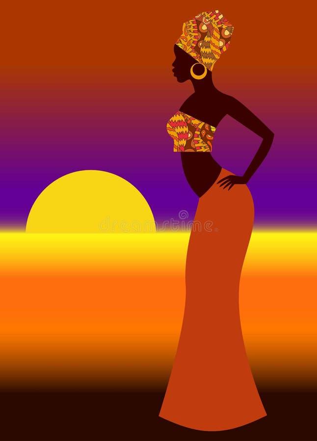 一名美丽的非洲妇女的剪影 向量例证