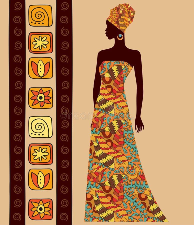 一名美丽的非洲妇女的剪影 库存例证