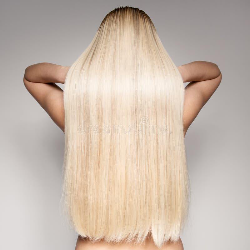 一名美丽的年轻白肤金发的妇女的画象有长的平直的海氏的 免版税库存照片