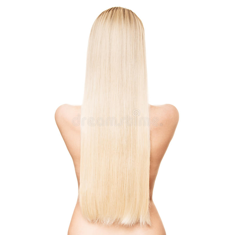 一名美丽的年轻白肤金发的妇女的画象有长的平直的海氏的 免版税库存图片