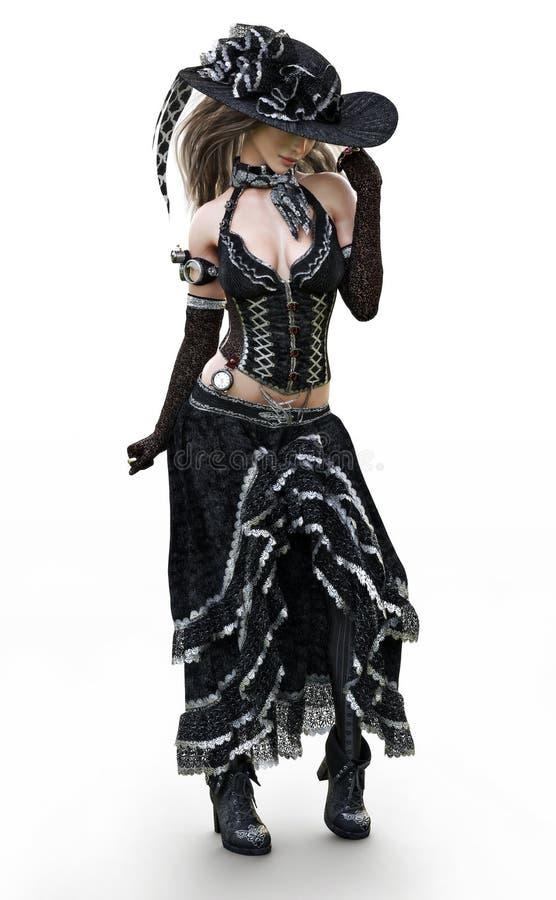 一名美好的steampunk加工好的妇女的画象摆在白色背景的传统衣物的 向量例证