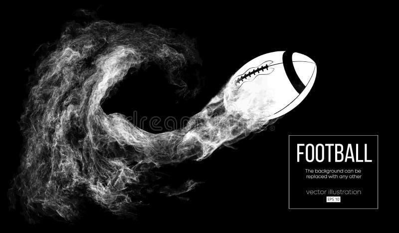 一名美式足球球员的抽象剪影深黑色背景的 运行与球的足球运动员 橄榄球 库存例证