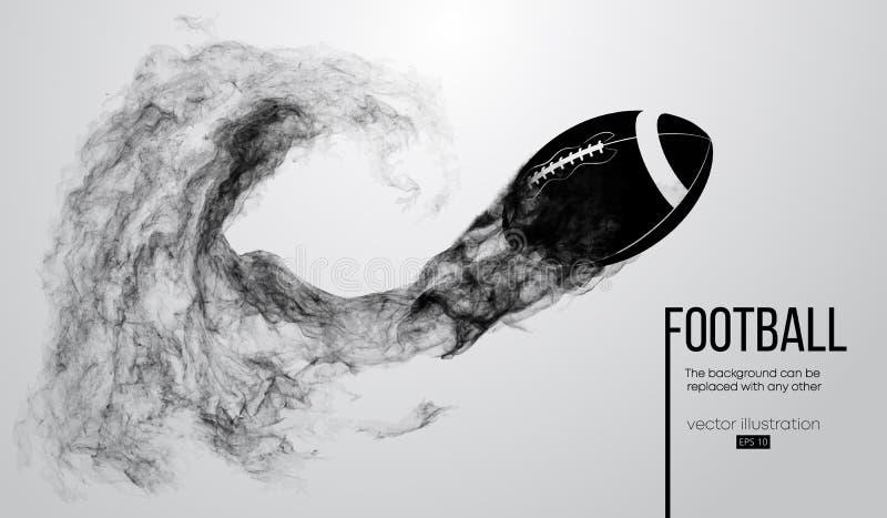 一名美式足球球员的抽象剪影深黑色背景的 运行与球的足球运动员 橄榄球 皇族释放例证