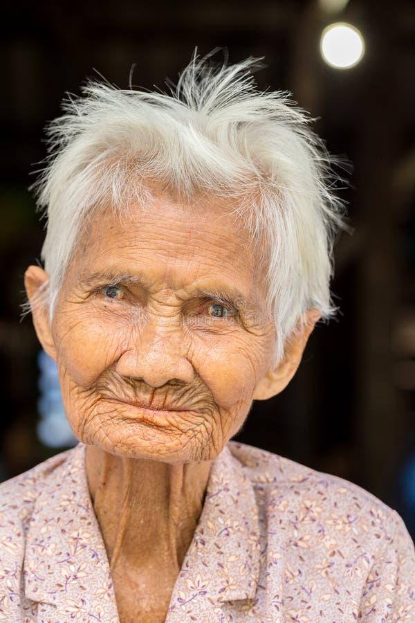 一名老亚裔妇女的纵向 图库摄影