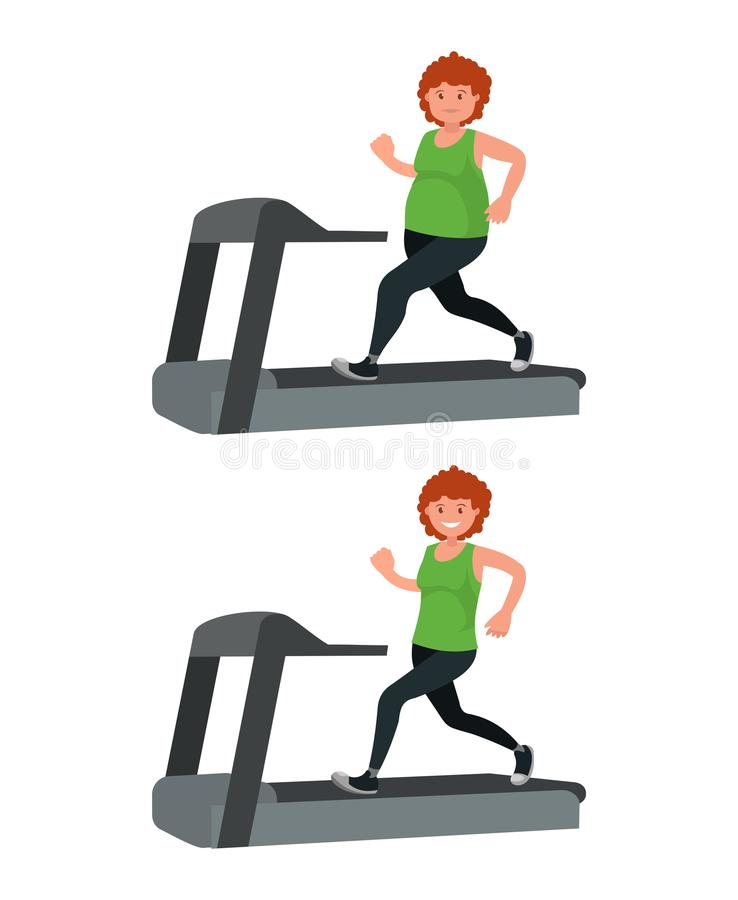 一名肥胖妇女在踏车和丢失的重量跑 库存例证