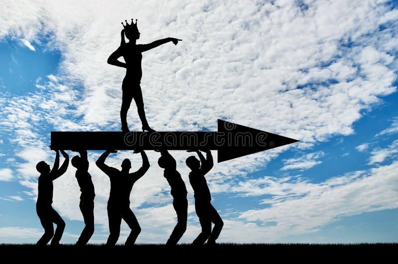 一名自私妇女的概念有一个冠的在她的头 库存图片
