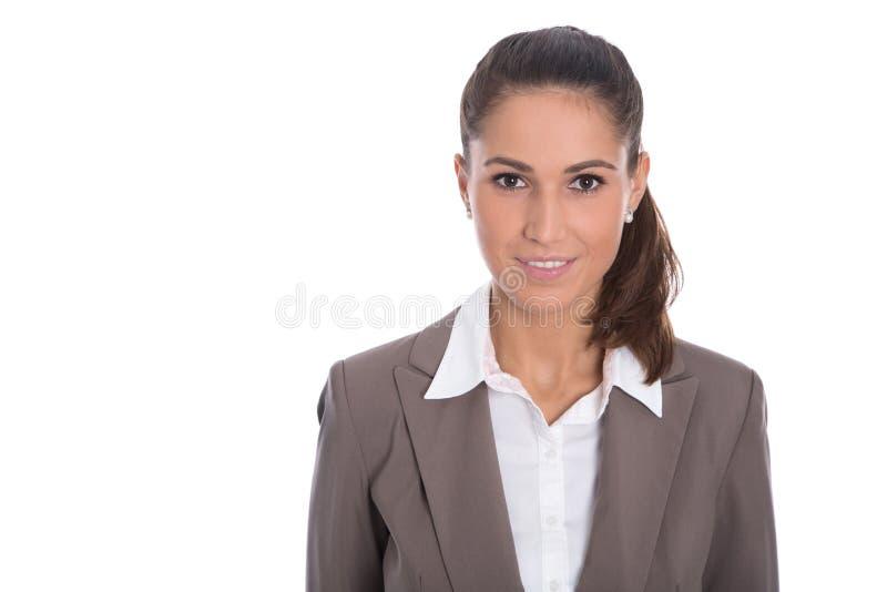 一名被隔绝的微笑的女实业家的画象在白色backgrou的 免版税图库摄影
