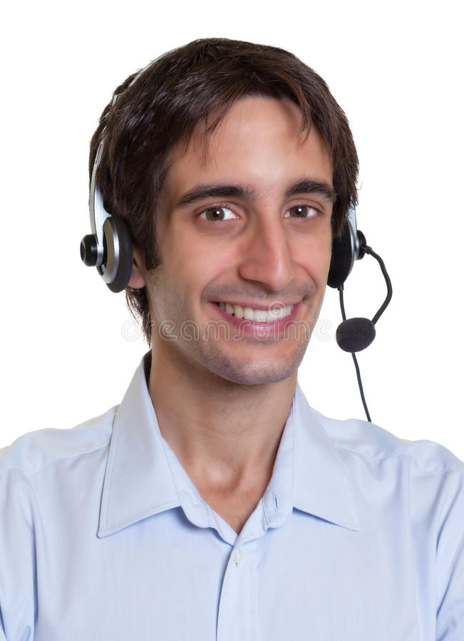 一名西班牙操作员的画象有耳机的 免版税库存照片
