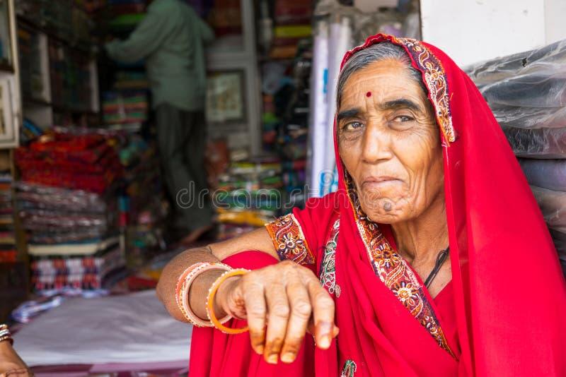 一名资深印地安妇女的画象有传统礼服莎丽服的 库存图片