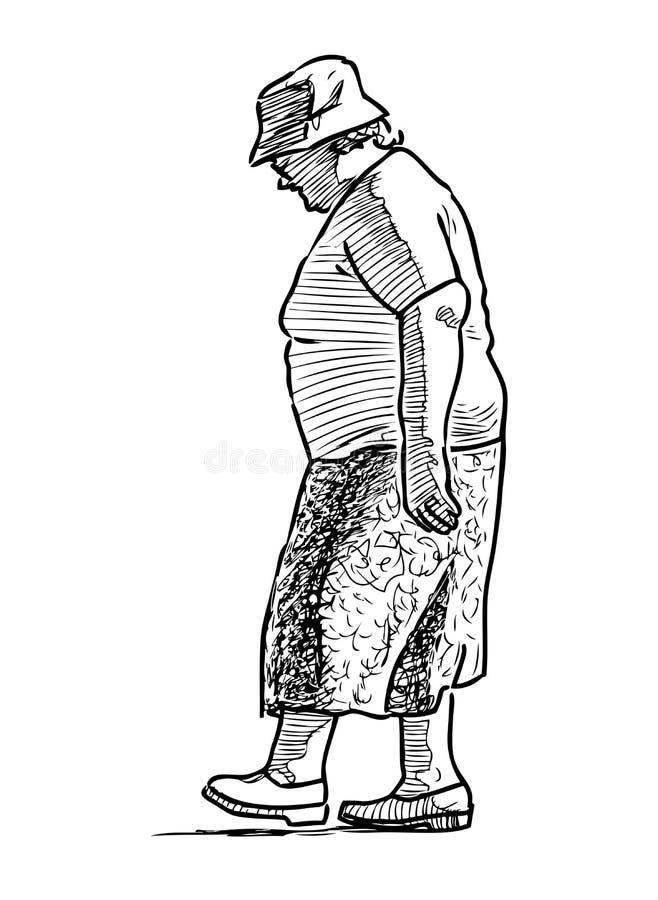 一名资深妇女向漫步求助 向量例证
