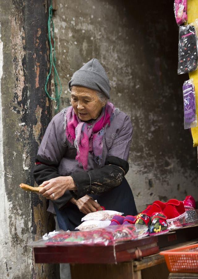 一名资深妇女的短冷期画象 图库摄影