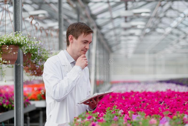 一名身穿白色外套的年轻男子、一名科学家或农学家,对植物中的花朵和绿色植物进行了检查和分析 库存照片