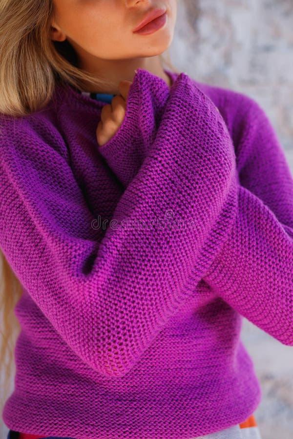 一名逗人喜爱的妇女的画象有横渡的胳膊的在毛线衣在家 桃红色,淡紫色夹克 库存图片