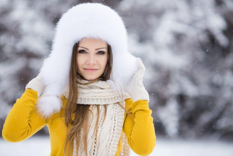 一名非常美丽的妇女的冬天画象 免版税图库摄影