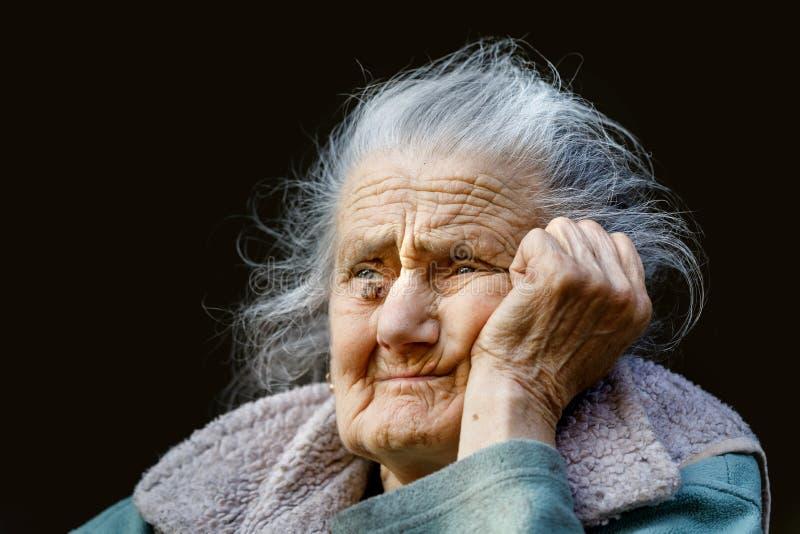 一名非常老起皱纹的妇女的画象 库存图片