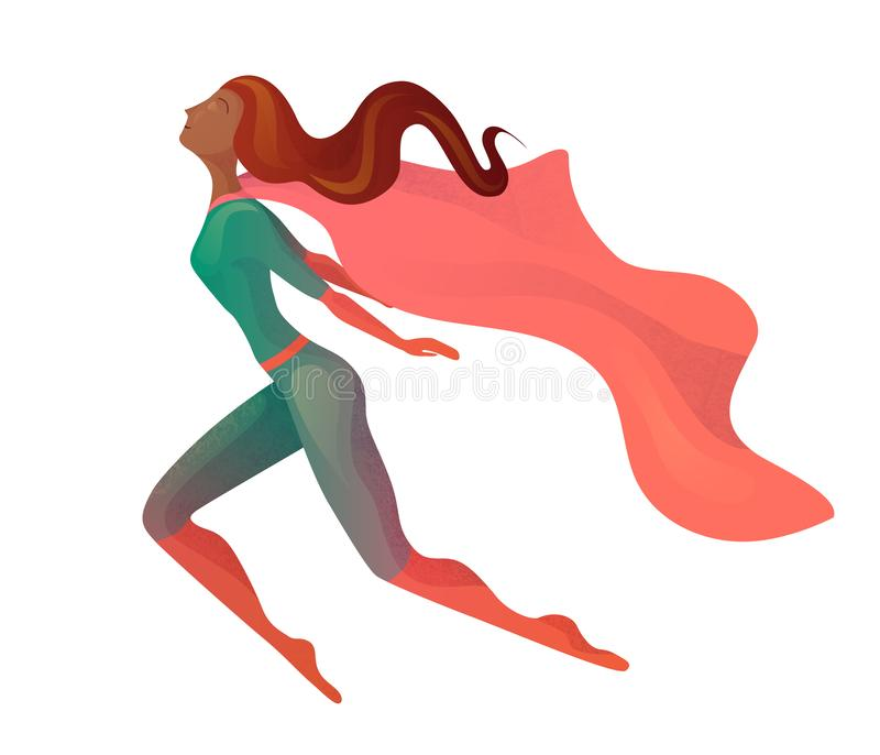 一名飞行的非裔美国人的超级妇女的例证服装的有斗篷的 女孩的典雅的质地仿效 库存例证