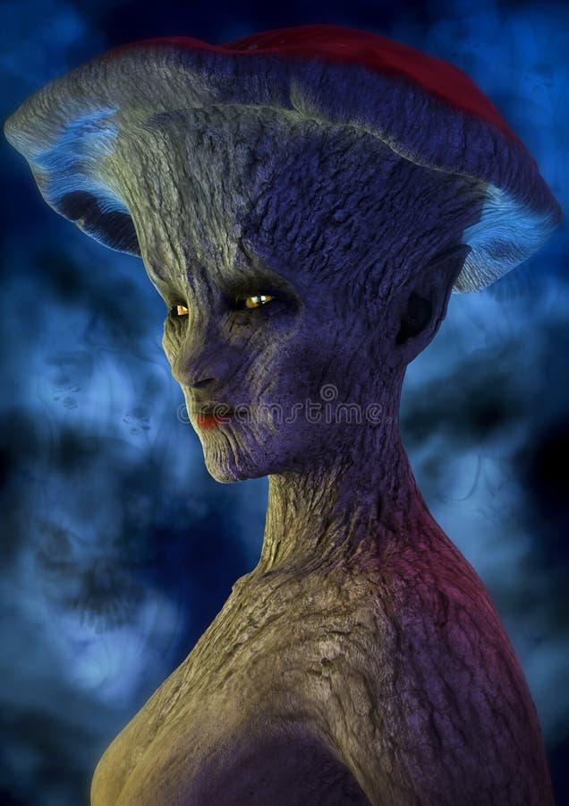 一名黑暗的蘑菇妇女的童话画象 向量例证