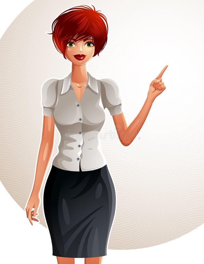 一名年轻俏丽的女实业家的例证有一现代hairc的 向量例证