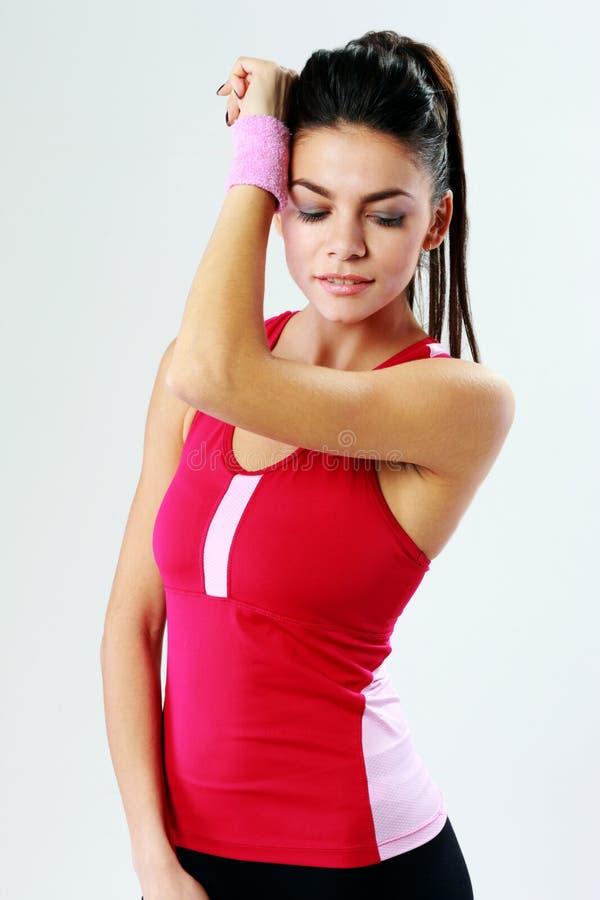 一名年轻美丽的体育妇女的画象 库存图片