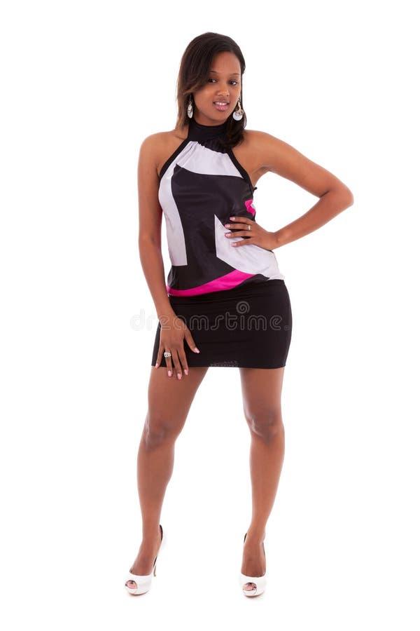 一名年轻美丽的非裔美国人的妇女的画象-黑peo 免版税库存图片