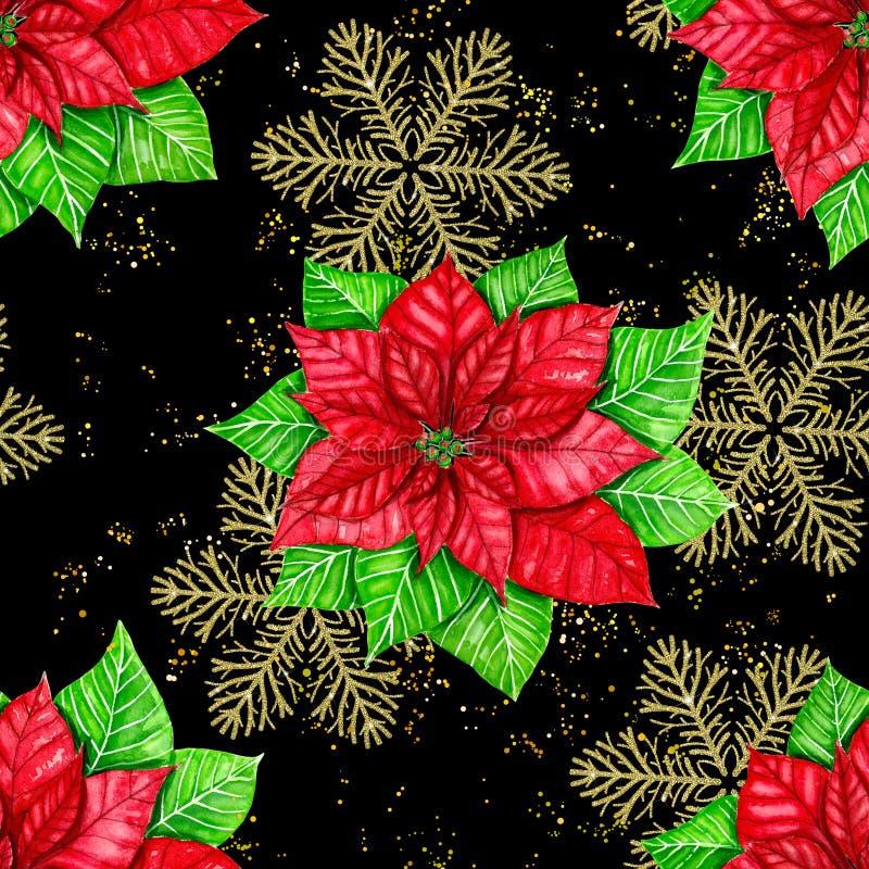 一品红和金黄雪花圣诞节样式 向量例证