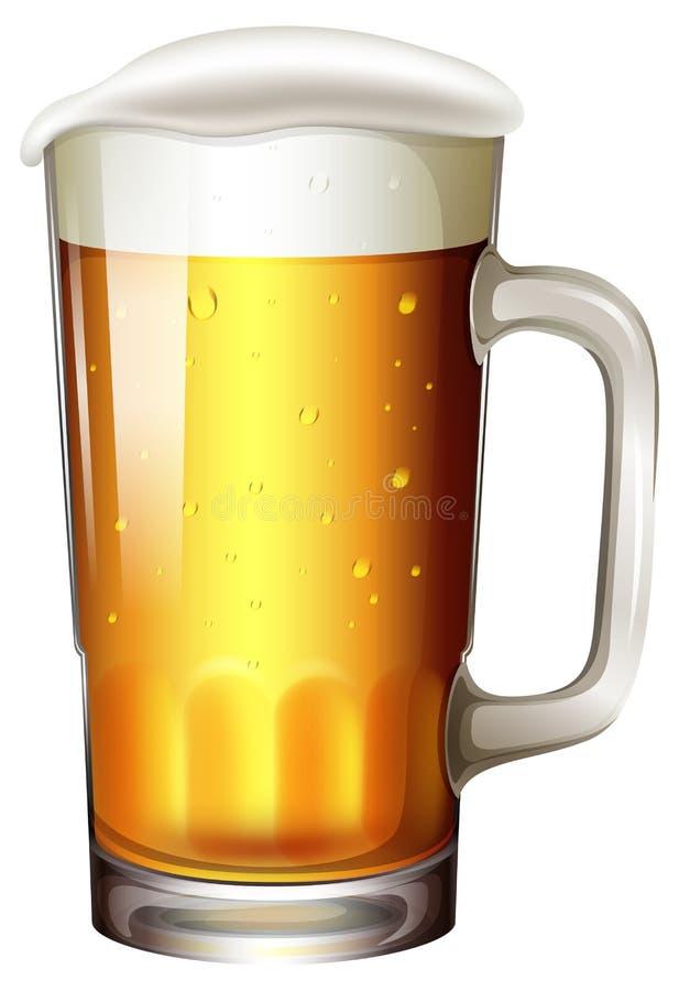 一品脱在白色背景的啤酒 向量例证