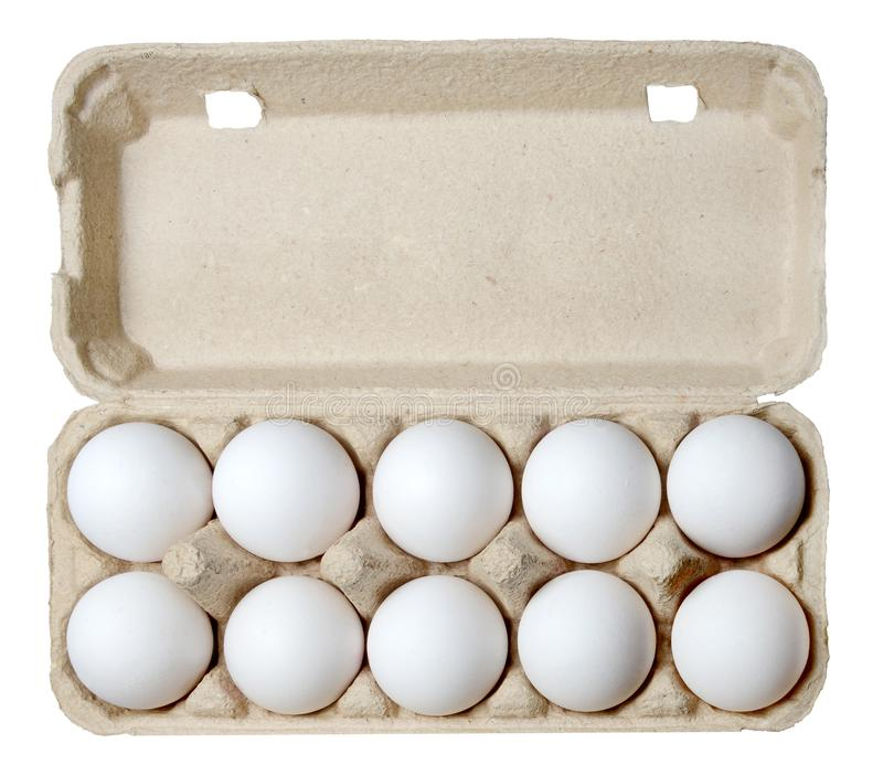 一在纸盒的十二只鸡鸡蛋 免版税库存图片