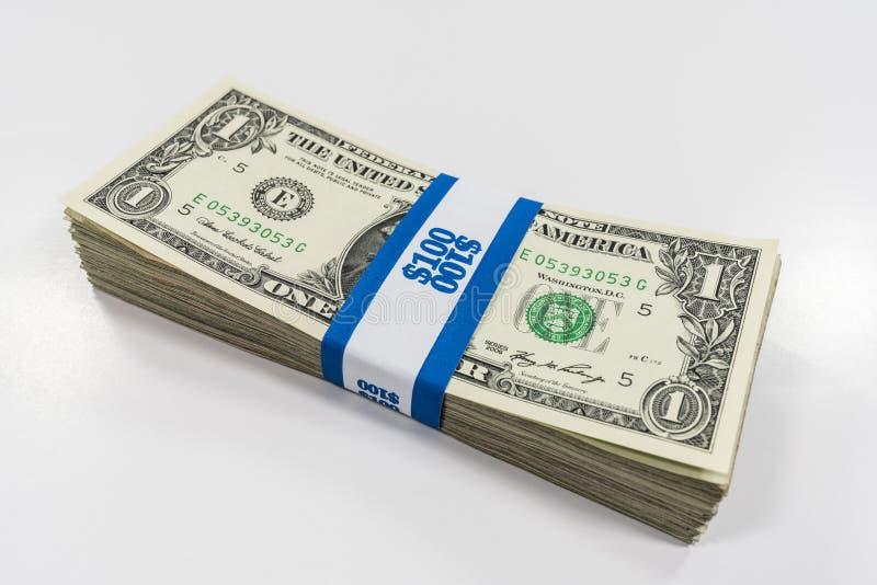 一在货币皮带美金包裹 免版税库存图片