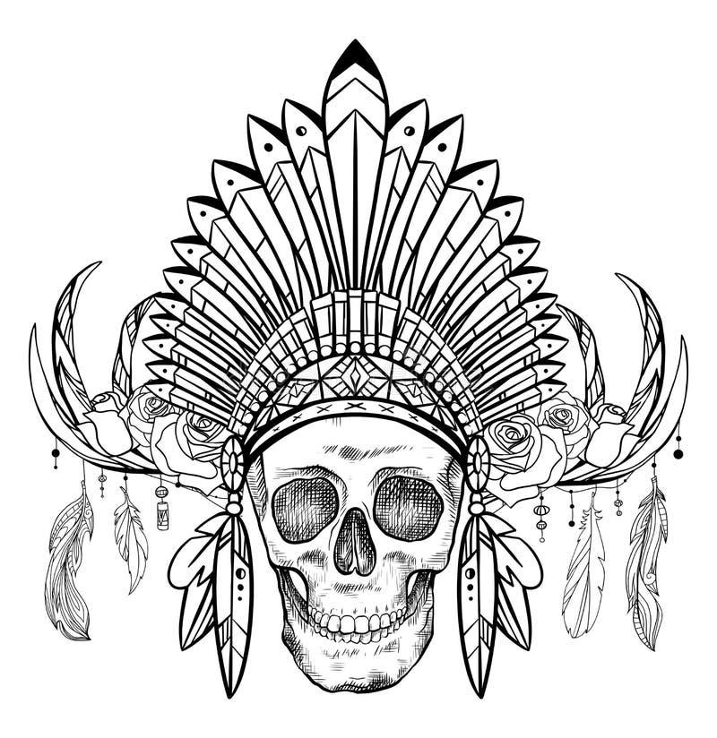 一块人的头骨的黑白图画在一个美国本地人帽子的有鹿垫铁和玫瑰的 o 部族传染媒介图象 库存例证