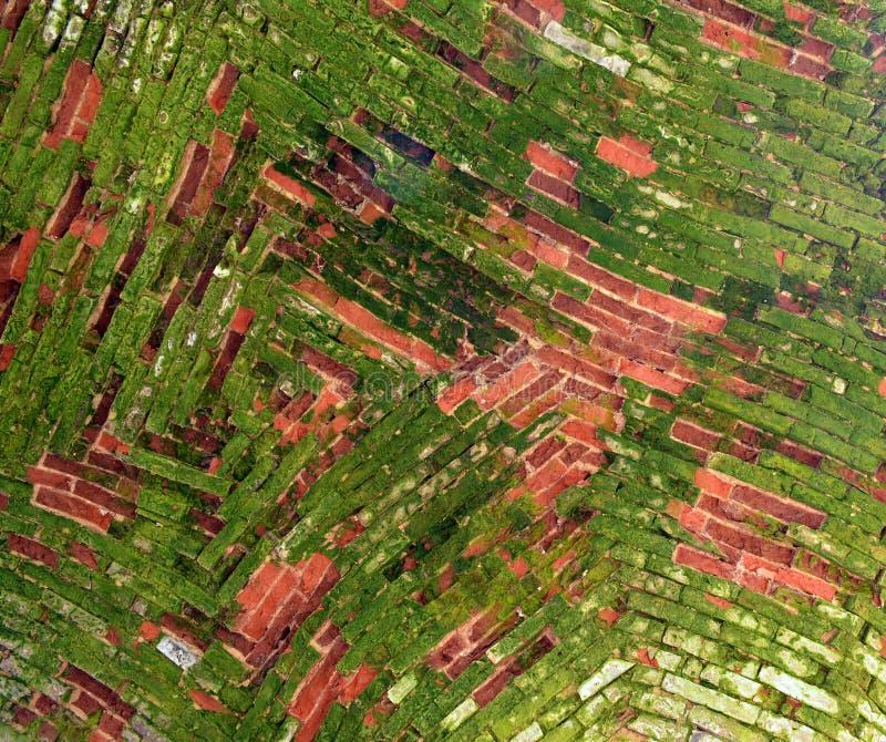 一块古老曲拱天花板的砖砌由红砖制成 库存图片