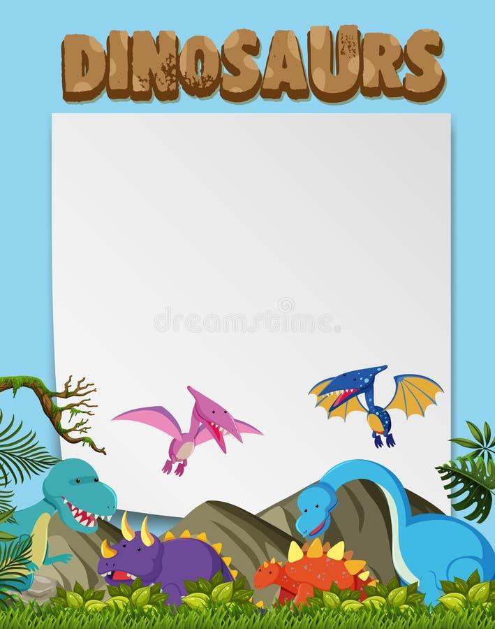 一块各种各样的恐龙行星模板 皇族释放例证